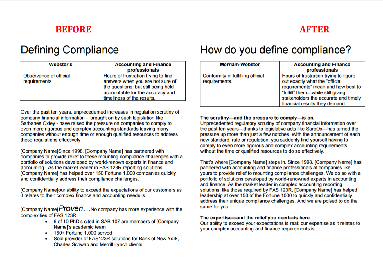 The before and after versions of an edited brochure for a tech company