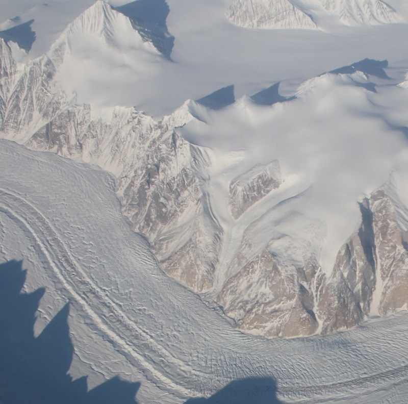 View from NASA's G-III aircraft as it flew over the eastern coast of Greenland at about 40,000 feet on March 26 with the GLISTIN-A instrument aboard.
