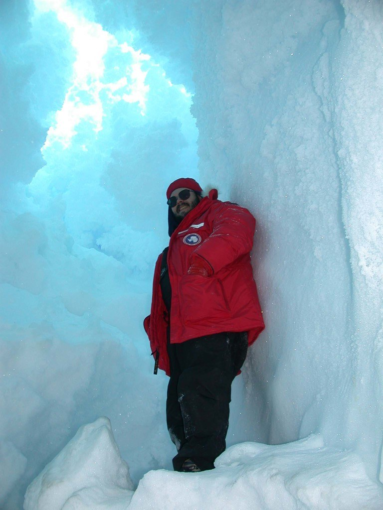 Navigable ice cave at the Erebus glacier ice tongue