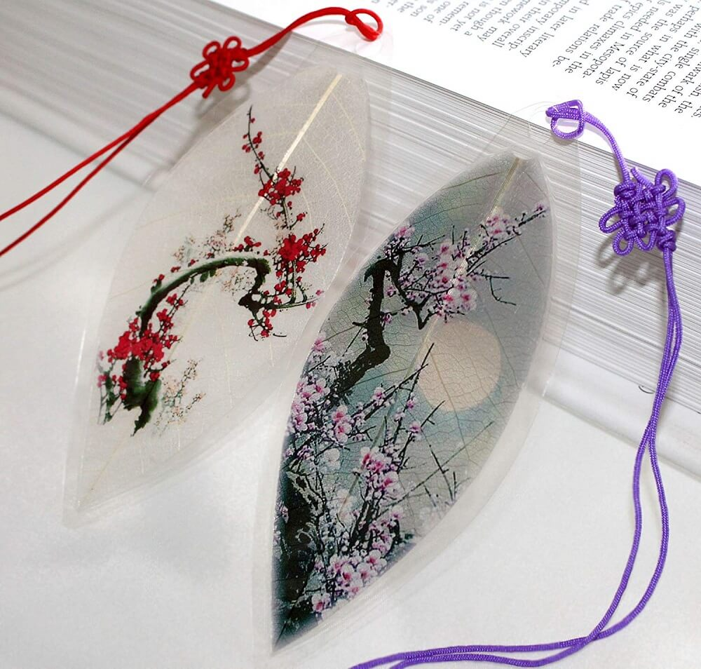Leaf Bookmarks with Chinese Brush Painting