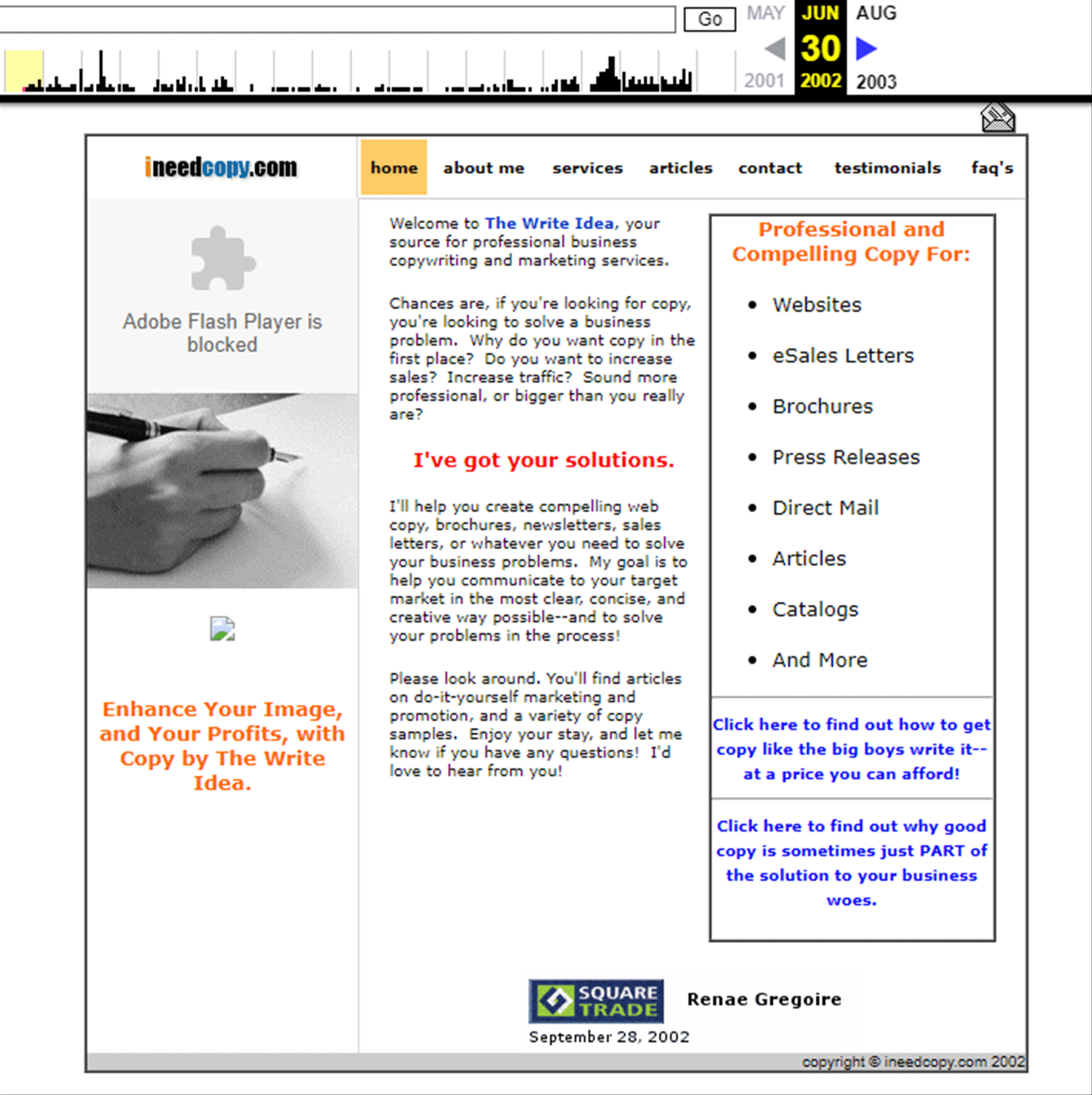 My first website - ineedcopy.com on June 30, 2002